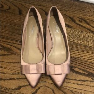 Pink satin shoes by lord and Taylor